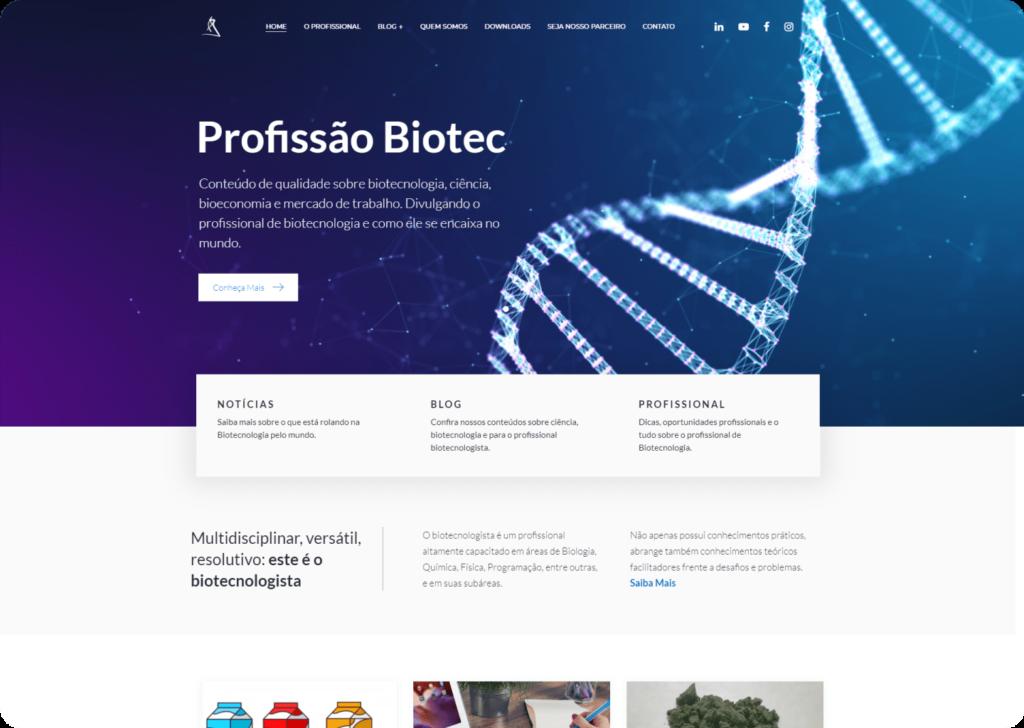 Criação do site Profissão Biotec